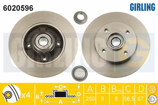 6020596 Диск тормозной CITROEN С3/C4/PEUGEOT 207/307 задний с подш.