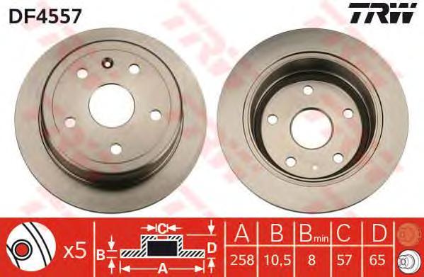 DF4557 Диск тормозной DAEWOO LEGANZA 97-04 задний D=258мм.