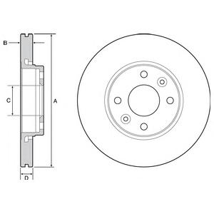 BG4459 Диск тормозной RENAULT KANGOO 08- передний вент.D=258мм.