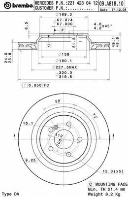 09A81811 Диск тормозной MERCEDES W221/C216 задний вент.D=320мм.