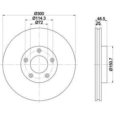 8DD355110891 Диск тормозной MAZDA 3 2.0 03-/MAZDA 5 R16/17/18 05- передний вент.