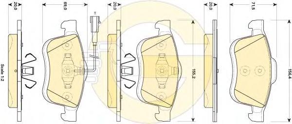 6118644 Колодки тормозные FIAT DOBLO 01- передние