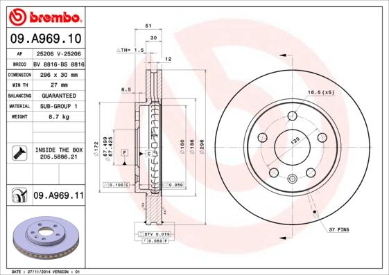"09A96910 Диск тормозной OPEL INSIGNIA 08-/SAAB 9-5 10- R16"" передний D=296мм."