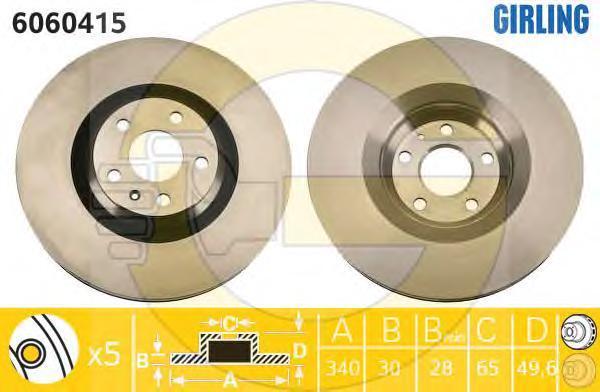 6060415 Диск тормозной AUDI TT (1LK) 06- передний вент.D=340мм.