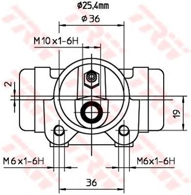 BWL204 Цилиндр торм.раб.FORD TRANSIT 2.0-2.4TD 00- D=25.4