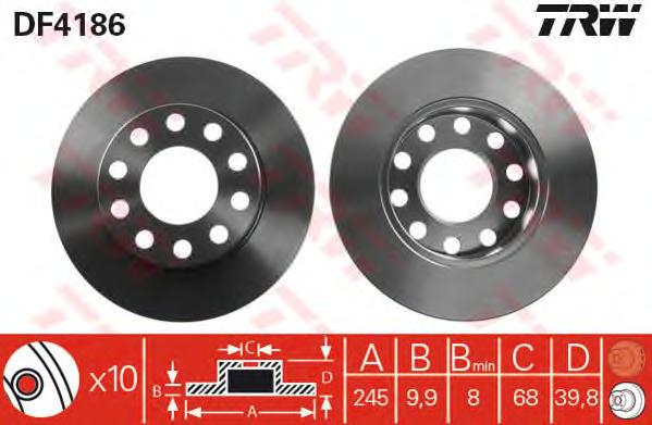 DF4186 Диск тормозной AUDI A4 1.6-3.2 00- задний D=245мм.