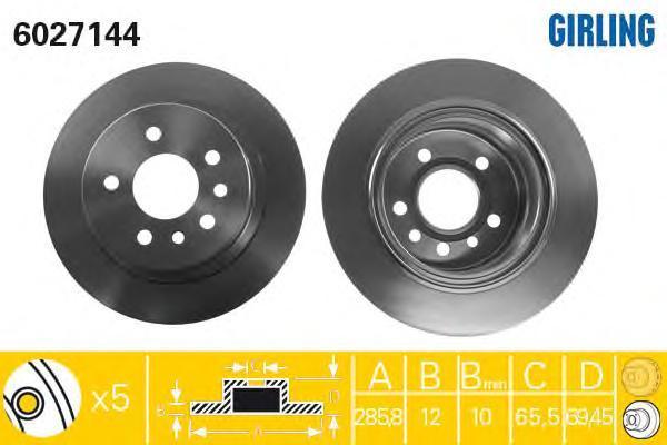 6027144 Диск тормозной OPEL OMEGA B 94-03 задний D=286мм.