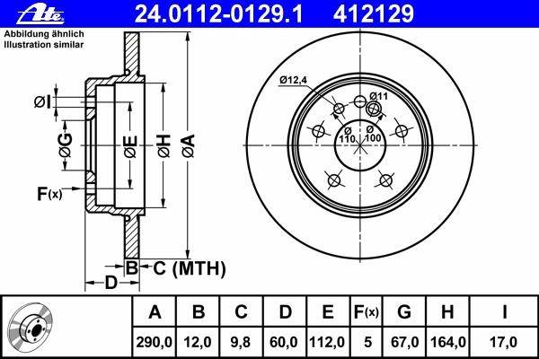 24011201291 Диск тормозной задн, MERCEDES-BENZ: S-CLASS 300 SE 2.8/300 SE,SEL/S320/S 280/S 300 Turbo-D/S 350 Turbo-D 91-98