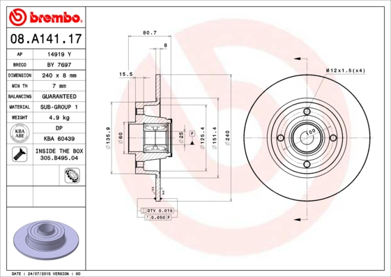 08A14117 Диск тормозной RENAULT CLIO III 05-/MEGANE II 02- задний с подшипником