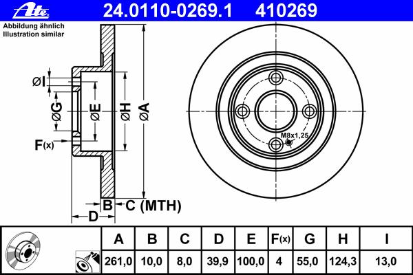 24011002691 Диск тормозной задн, MAZDA: 323 F VI 1.6/1.9 16V/2.0/2.0 D/2.0 TD 98-04, 323 S VI 1.6/1.9 16V/2.0/2.0 D/2.0 TD 98-04