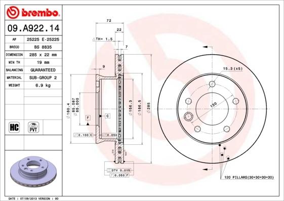 09a92214 Тормозной диск