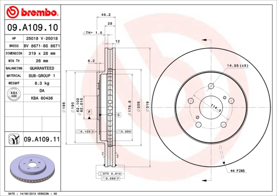 09A10910 Диск тормозной LEXUS RX300/RX350/RX400 03 передний