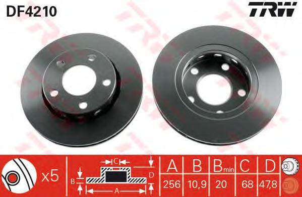 DF4210 Диск тормозной AUDI A4 95-01/VW PASSAT 00-05 задний вент.D=256мм.