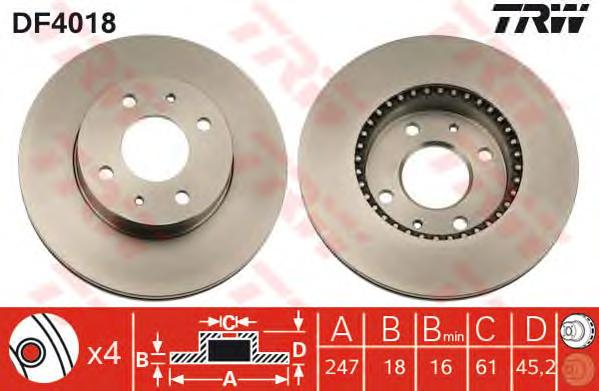DF4018 Диск тормозной передн NISSAN: ALMERA I 95-00, ALMERA I Hatchback 95-00