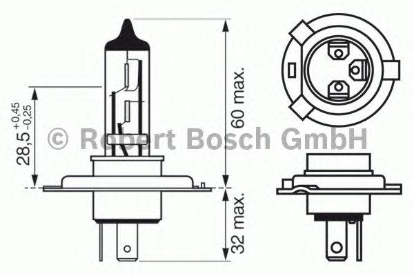 1987302045 Лампа H4 60/55W P43t Xenon Blue
