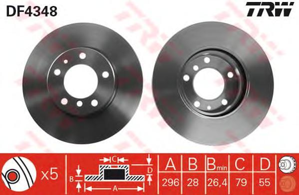 DF4348 Диск тормозной BMW E34 525X 91-97 передний вент.D=296мм.