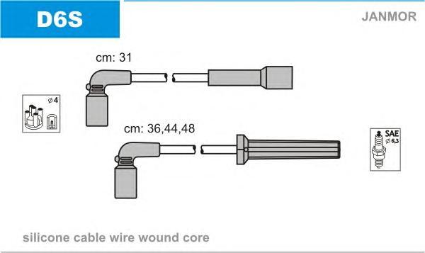 D6S Комплект проводов зажигания DAEWOO: KALOS 1.4 02-, LANOS 1.4/1.5 97-, NUBIRA 1.8 97-