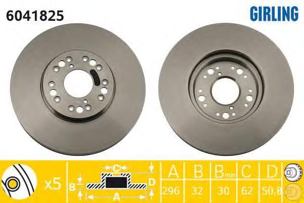 6041825 Диск тормозной LEXUS GS300/GS400 97/IS200/IS300 9903 передний вент.