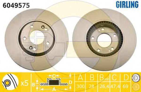 "6049575 Диск тормозной HYUNDAI i30 07- R16"" передний вент.D=300мм."