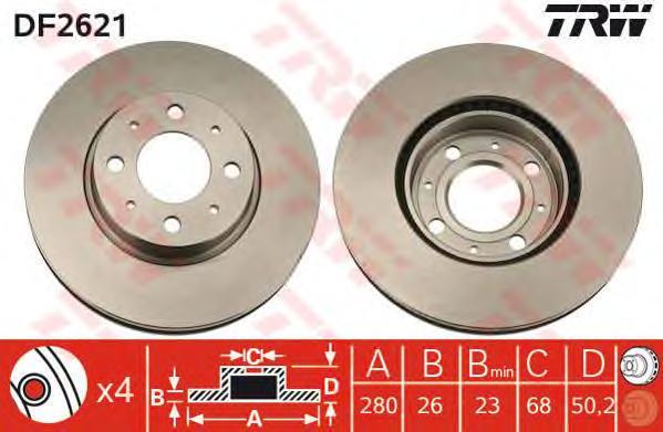 DF2621 Диск тормозной VOLVO 850 2.0-2.5 91-96 передний D=280мм.