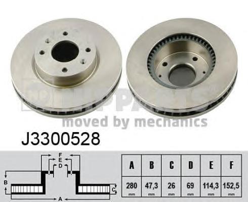 J3300528 Диск тормозной HYUNDAI ELANTRA 2.0 01-/SONATA/KIA MAGENTIS 01- передний D=280мм.