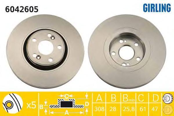 6042605 Диск тормозной RENAULT ESPACE 1.9-2.0 02-/LAGUNA II 3.0 01-07 перед.вент.D=308мм