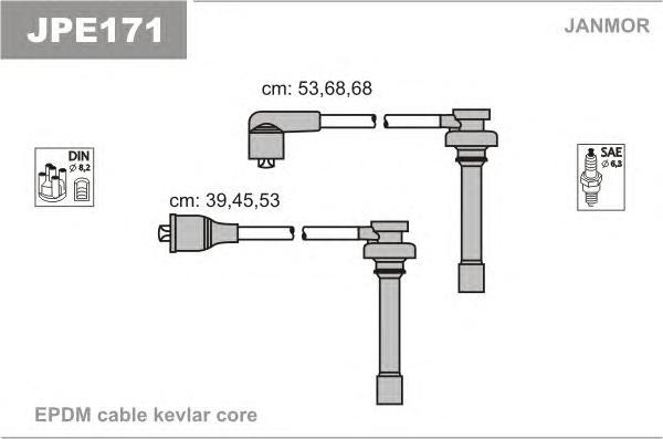 JPE171 Комплект проводов зажигания CHRYSLER: CIRRUS 94-00, SEBRING купе 95-00, STRATUS 95-01, STRATUS кабрио 96-01, MITSUBISHI: