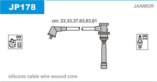 JP178 Комплект проводов зажигания HYUNDAI: GRANDEUR 98-, SONATA III 98-01, SONATA IV 01-04, TRAJET 00-, XG 98-