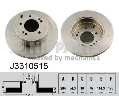 J3310515 Диск тормозной HYUNDAI SONATA NF 05- задний D=284мм.