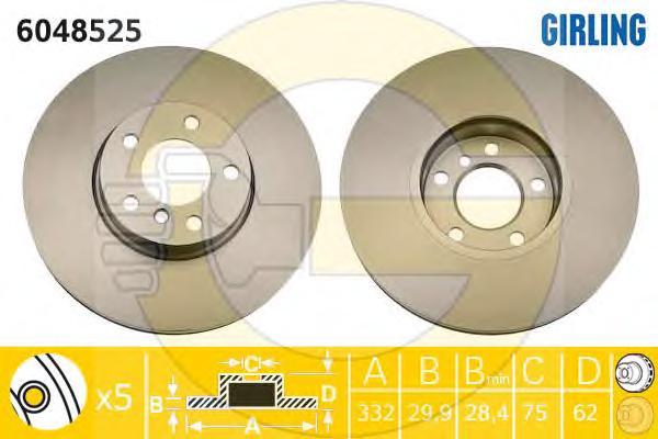 6048525 Диск тормозной BMW X5 E70 3.0/X6 E71 3.0 (USA) передний D=332мм.