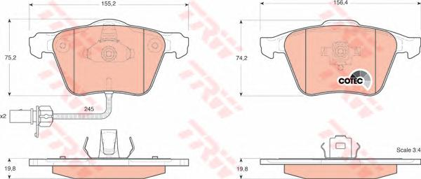 GDB1554 Колодки тормозные AUDI A4 2.0-3.2 0-/A6 2.7-3.2 01- передние