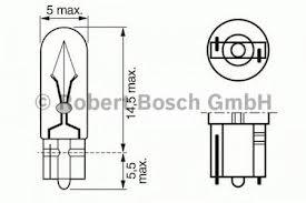 1987302240 Комплект ламп накаливания 10шт в упаковке W2.3W 12V 2.3W W4.6d Pure Light (стандартные характеристики)