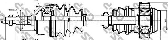 235003 Привод в сборе MB VITO W638 2.2CDI 99-03 пер.лев./прав. +ABS
