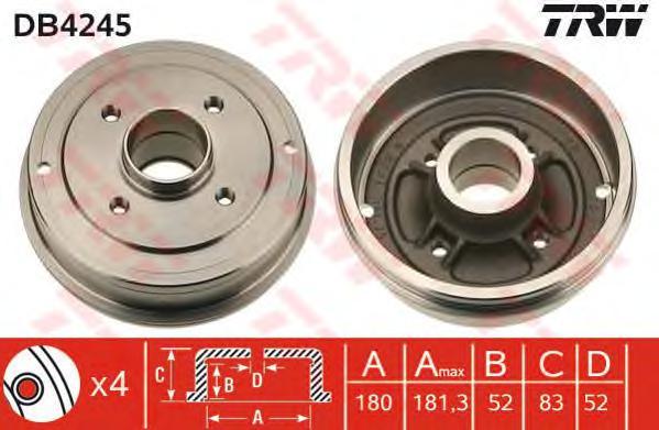 DB4245 Барабан тормозной RENAULT LOGAN/CLIO/MEGANE (d=180mm)
