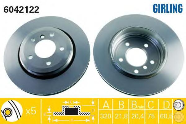 6042122 Диск тормозной BMW 3 E46 325-330 99-06 задний D=320мм.
