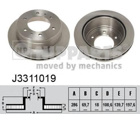J3311019 Диск тормозной NISSAN TERRANO 87-96 задний вент.