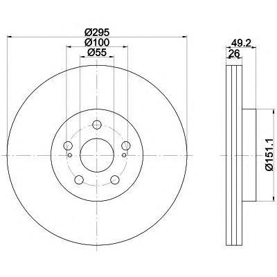 8DD355111651 Диск тормозной TOYOTA AVENSIS 2.0-2.4 03- передний вент.