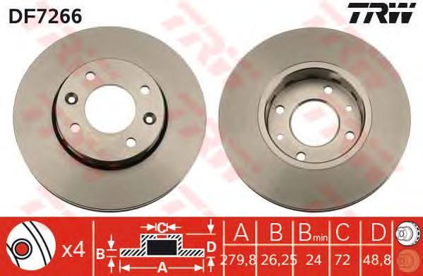 DF7266 Диск тормозной KIA CARENS 1.6-2.0 02-06 передний вент.