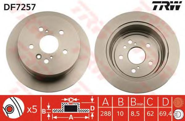 DF7257 Диск тормозной LEXUS RX300/RX330/RX350/RX400H задний