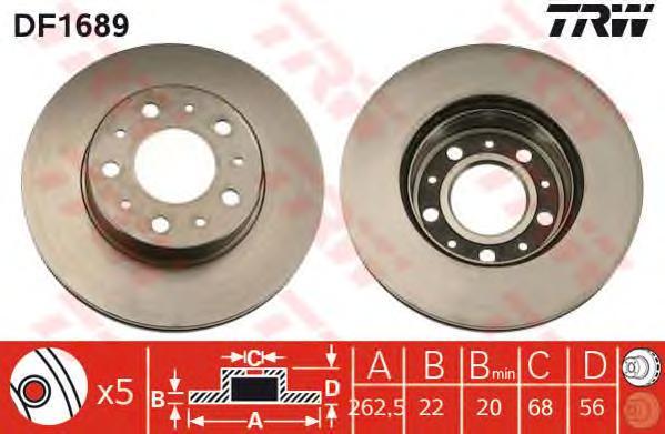 DF1689 Диск тормозной передн VOLVO: 740 84-92, 740 Kombi 85-92