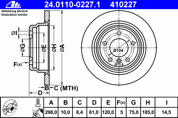 24011002271 Диск тормозной задн, BMW: 5 520 d/520 i/523 i/525 td/525 tds 95-03