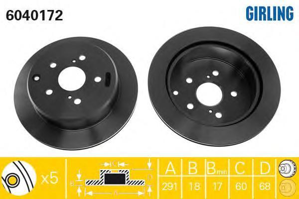 6040172 Диск тормозной TOYOTA PREVIA 90-00/SUPRA 86-93 задний вент.D=291мм.