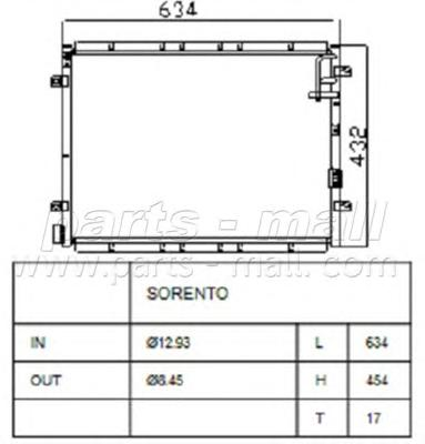 PXNCB038 Радиатор кондиц. KIA SORENTO(BL) 02-06
