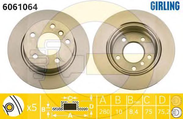 6061064 Диск тормозной BMW Z4 E85 2.0-2.5 03- задний D=280мм.