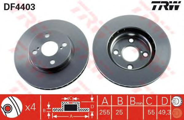 DF4403 Диск тормозной TOYOTA COROLLA (E12) 06.0402.07 передний вент.