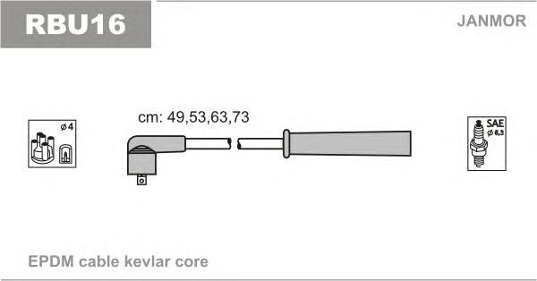 RBU16 Комплект проводов зажигания RENAULT: CLIO I 96-98, CLIO II 98-, CLIO II ФУРГОН 98-, KANGOO 98-, KANGOO EXPRESS 98-, TWINGO