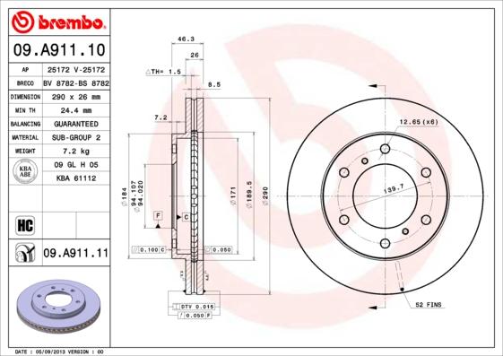 09A91110 Диск тормозной MITSUBISHI PAJERO 00- (R16) передний
