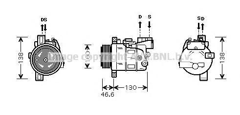 BWAK319 Компрессор кондиционера BMW: 1 (E87) 118 D/120 D 03-12, 3 (E90) 318 D/320 D 05-11, 3 TOURING (E91) 318 D/320 D 05-