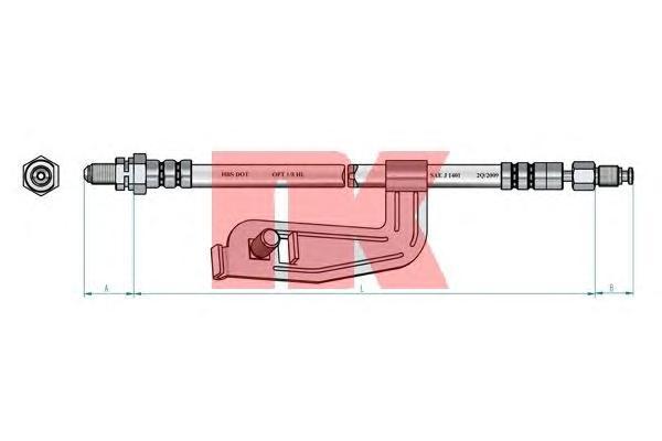 852588 Шланг тормозной FORD FIESTA 95-02 передний левый