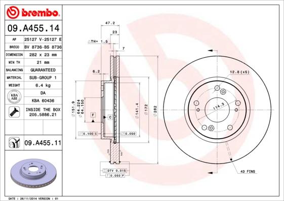 09A45514 Диск тормозной HONDA CIVIC 06/FR-V 05/STREAM 02 передний вент.